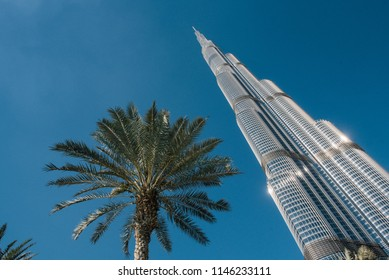 Dubai, United Arab Emirates -1 December 2017: Burj Khalifa - world's tallest tower at 829.84 m (2,723 ft).