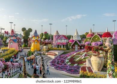 Dubai, United Arab Emirates - 10/11/2018 - Beautiful Flourish Landscape of Miracle Garden with over 45 million flowers in a sunny day, Flower Garden in Dubai, UAE