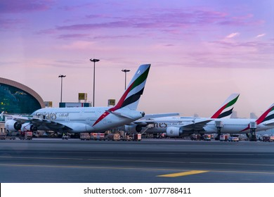 DUBAI, UNITED ARAB EMIRATES - 11 April 2018 - Emirate Airlines  docked at Terminal Dubai International Airport, Dubai Airport is a major airline hub in the Middle East
