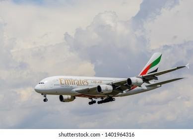 Dubai , United Arab Emirates; 11 30 2018 : Airbus A380 flying