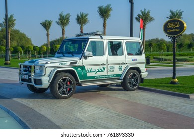Dubai, United Arab Emirates, 15.11.2015 Sunny day in park. Mercedes Benz Police car. It's a travel photo.