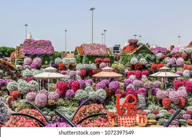 Dubai, United Arab Emirates - 18/04/2018 - Beautiful Flourish Landscape of Miracle Garden with over 45 million flowers in a sunny day, Flower Garden in Dubai, UAE