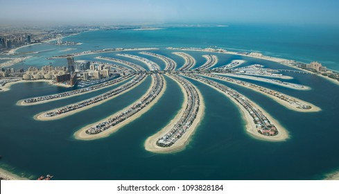 Dubai, United Arab Emirates, 18th May, 2018: aerial view of Dubai famos manmade Palm Island