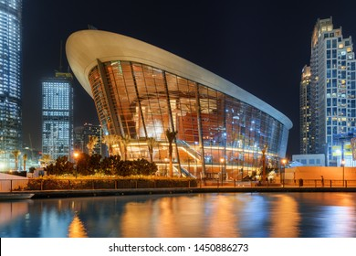 Dubai, United Arab Emirates - 2 November, 2018: Gorgeous night view of Dubai Opera House at downtown. The Opera District is a popular tourist destination of UAE.