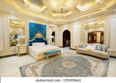 Dubai, United Arab Emirates 20/03/2020 : Master Bedroom of a luxury Villa / house in Dubai
