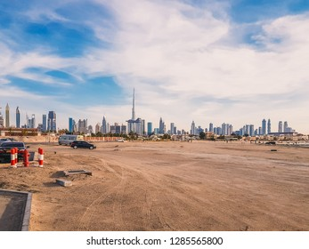 Dubai, United Arab Emirates - 2018 - Dubai Skyline & Cityscape taken from the new extension to be of La Mer beach showing Emaar's Burj Khalifa, Downtown, Financial Center & Business Bay districts.