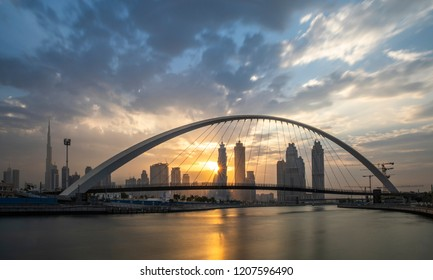 Dubai, United Arab Emirates, 20th october 2018: Tolerance bridge at Dubai waterway at sunrise