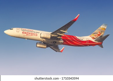Dubai, United Arab Emirates – 21. February 2018: Air India Express Boeing 737-800 at Dubai International airport (DXB) in the United Arab Emirates. Boeing is an aircraft manufacturer based in Seattle