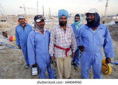 DUBAI, UNITED ARAB EMIRATES - 21 FEBRUARY 2005:  Construction workers in Dubai.