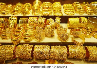 DUBAI, UNITED ARAB EMIRATES --22 DECEMBER 2014-- Over 300 shops sell gold jewelry at the famous Dubai Gold Souk, a traditional market located in the central commercial district of Dubai (UAE).