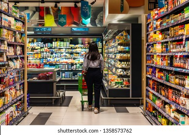 Dubai, United Arab Emirates; 3 April 2019; a young lady doing a shopping in Lulu supermarket on al Wasl road