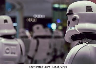 Dubai, United Arab Emirates; 3 April 2019; Star wars, figurines on display in dubai mall; stormtroopers