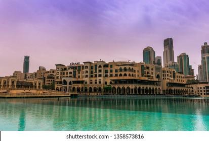 Dubai, United Arab Emirates; 3 April 2019; Souk al Bahar, Emaar square at midday