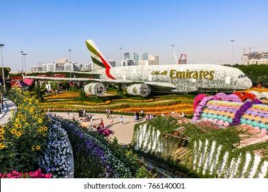 Dubai, United Arab Emirates - 30/11/2017 - Dubai Miracle Garden, Flower Garden and Flourish Landscape