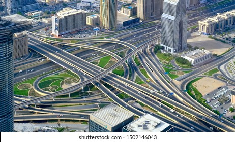 Dubai, United Arab Emirates – 31 October, 2018:   Complex elevated road intersection at the Sheikh Zayed Road.