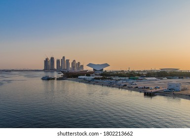 Dubai, United Arab Emirates, 3.1.2020. Dhow yard in front of Mohammed Bin Rashid Library in Al Jaddaf (ship builing area). Background Creek Harbour Towers