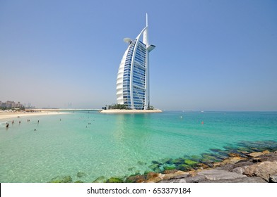 DUBAI, UNITED ARAB EMIRATES - 4th JUNE, 2017: Burj Al Arab hotel. Built on an artificial island, it is the only 7-star hotel in the world. Completed in 2009. June 4th, 2017 Dubai, UAE