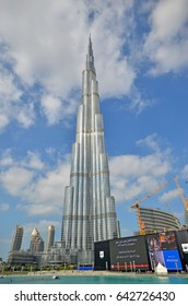 DUBAI, UNITED ARAB EMIRATES - 6th APRIL, 2017: Burj Khalifa tower. This skyscraper is the tallest man-made structure in the world, measuring 828 m. Completed in 2009. April 6th, 2017 Dubai, UAE