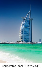 Dubai, United Arab Emirates - April 15, 2018: The most luxurious hotel in the world Burj Al Arab on the Jumeirah Beach.
