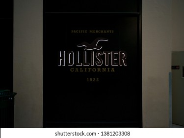 Dubai, United Arab Emirates - April 04, 2019.A Hollister store front sign for the clothing company