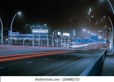 Dubai, United Arab Emirates - August 2018: Sheikh Zayed Road at night.