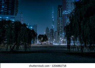 Dubai, United Arab Emirates - August 2018: The Burj Khalifa is seen from Business Bay.