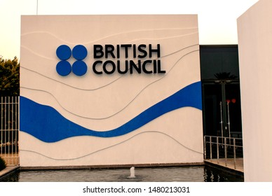 Dubai / United Arab Emirates - August 14, 2019: British Council logo on the building facade, blue in color. The UK international organisation for cultural relations and cultural opportunities.