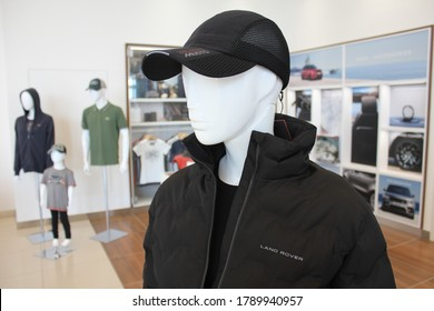 Dubai, United Arab Emirates - August 5, 2020: Land Rover branded apparel/merchandise for retail sale at a Land Rover dealership.