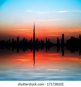 Dubai, United Arab Emirates. Beautiful beach and sea at sunset
