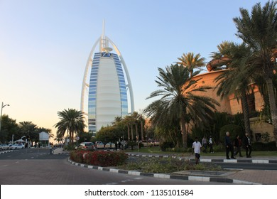 Dubai, United Arab Emirates - Burj Al Arab, Jumeirah - 29.1.2010 - view from the driveway to the entrance of the luxurius seven star hotel, photo taken on beautiful sunny day with clear blue sky