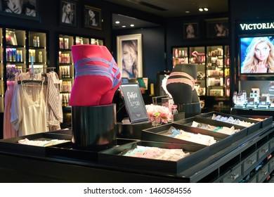 DUBAI, UNITED ARAB EMIRATES - CIRCA JANUARY, 2019: goods on display at Victoria's Secret store in Dubai International Airport.