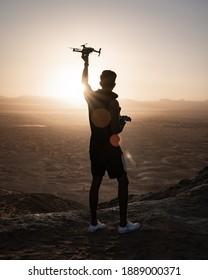 Dubai, United Arab Emirates - Dec 28th 2020: Flying Drone Landscape Adventure Film Making