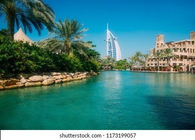 Dubai, United Arab Emirates - December 10, 2014: The Burj Al Arab Hotel on the beach near Madinat Jumeriah Resort. The Burj Al Arab is a luxury hotel located in Dubai, United Arab Emirates.
