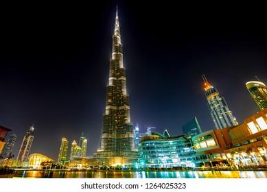 Dubai, United Arab Emirates; December 13th, 2018. Night view of Dubai skyline with the world's tallest building Burj Khalifa.