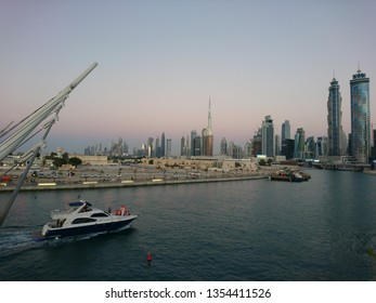Dubai, United Arab Emirates - December 19 2016: A view of the Dubai Skyline from the Safa Park