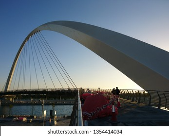 Dubai, United Arab Emirates - December 19 2016: A view of the Pedestrian Bridge over Dubai Canal within Safa Park