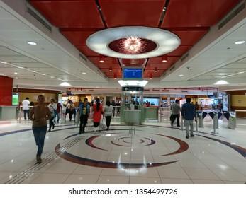 Dubai, United Arab Emirates - December 20 2016: A view of the interiors of the Al Fahidi Metro Station on the Green Line in Dubai