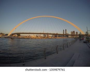 Dubai, United Arab Emirates - December 18 2016: A fish eye lens view of the Dubai Skyline from the Safa Park