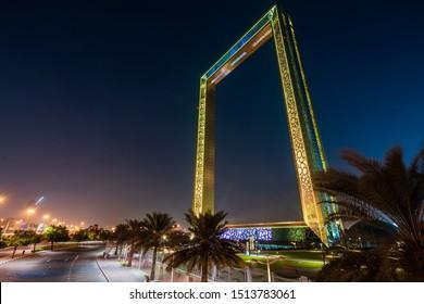 Dubai, United Arab Emirates - December 27, 2019: Dubai frame illuminated in the evening