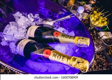 Dubai, United Arab Emirates, December 2019 - Bottle of Moët & Chandon Champagne served in a bucket