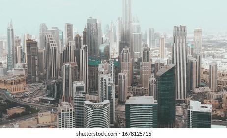 DUBAI, UNITED ARAB EMIRATES - DECEMBER 31, 2019. Aerial view of the Downtown Dubai