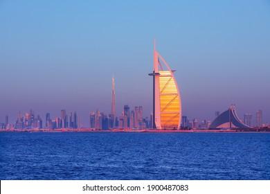 Dubai, United Arab Emirates, DECEMBER 26, 2019: Dubai city skyline view with Iconic skyscrapers Burj Khalifa and Burj Al Arab, United Arab Emirates