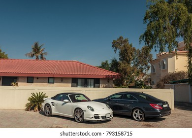Dubai, United Arab Emirates. December 25, 2017. luxury cars parked near the house in the elite district of the city