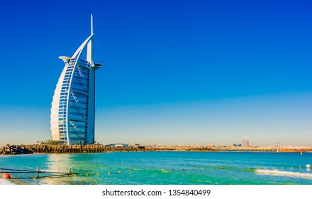 DUBAI, UNITED ARAB EMIRATES - FEB 8, 2019: The Burj Al Arab or Tower of the Arabs, a luxury hotel in Dubai, United Arab Emirates.