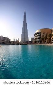 Dubai, United Arab Emirates, February 21, 2014. View of Burj Khalifa on a sunny day