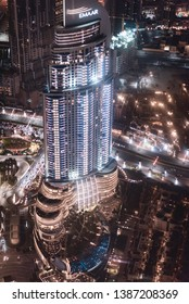 DUBAI, UNITED ARAB EMIRATES - FEBRUARY 24, 2019: Colourful view of Dubai, United Arab Emirates. Aerial view of Emaar skyscrapers