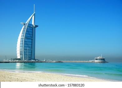 DUBAI, UNITED ARAB EMIRATES - FEBRUARY 19 2008 : Burj Al Arab, One of the most famous landmark of  United Arab Emirates. Picture taken on February 19, 2008.