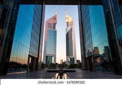 Dubai, United Arab Emirates - February 14, 2020: The Dubai International Financial Centre DIFC and Emirates towers in downtown Dubai UAE