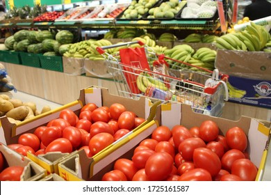 Dubai, United Arab Emirates - February 10, 2020: Supermarket interior view with consumer items for retail sale.