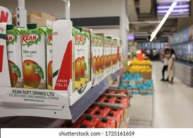 Dubai, United Arab Emirates - February 10, 2020: Supermarket interior view with consumer items for retail sale.